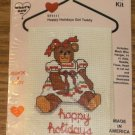 HAPPY HOLIDAYS GIRL TEDDY BEAR COUNTRY WIREWORKS