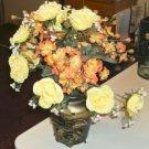 Floral Arrangement with Leather Like Vase,Brownish Gold