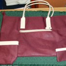 BURGUNDY COLORED 3 PC TOTE SET - NEW - VERY ROOMY