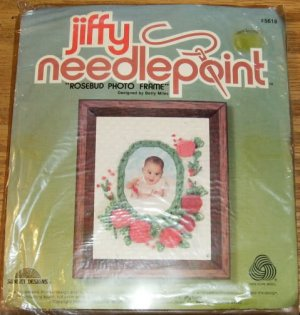 ROSEBUD NEEDLEPOINT PHOTO FRAME - SWEET FROM SUNSET 2