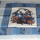 Basket of Flowers Pillow Panel - Pretty Blues & Cream