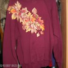BURGUNDY SWEATSHIRT WITH APPLIQUED LEAVES VERY PRETTY