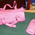 PRETTY PINK HEART BARREL PURSE &   CELL PHONE CASE