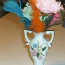 Rose Decorated Urn Vase W/ Carnations & a Feather,Cute