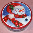 Cute Snowman Tin With Plaid Scarf-Country Scene, Holly