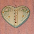 Roses & Ribbons Ceramic Heart Thermometer,Pretty,Indoor