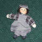 Boy in Overalls China Doll Shelf Sitter,Train Engineer