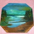 Octagonal Wood Evening Mountain Lake Scene,Handpainted