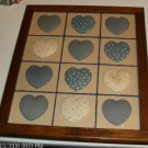Blue Fabric Heart Picture, Framed,Flowers,Circles,Solid