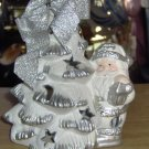 SILVER & WHITE SANTA CLAUS TREE CANDLE BURNER - NEW