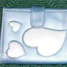 Blue Wallet With Hearts, Tri Fold Mini Style,Pretty