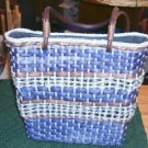 BLUE AND BROWN WOVEN WEAVE BAG -100% CORNHUSK