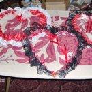 3 PRETTY WIRE HEARTS WITH RIBBONS AND LACE