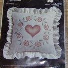 HEART & FLOWERS CANDLEWICKING PILLOW FROM OLDE MILL