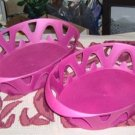 2 PRETTY PINK PLASTIC BASKETS