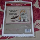 Cute Kitty Crosstitch - What's Going On, NIP