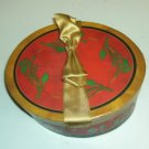 Red Hat Box Container with Gold Ribbon, Holly Sprigs