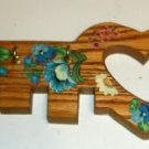 Wood Floral Heart Shaped Keyhanger, 3 Keyhooks, Pretty