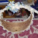 PRETTY WICKER BASKET WITH LACE AND RIBBONS