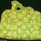 GREEN DANDELION/DAISY FLORAL  COSMETIC BAG, NEW, PRETTY