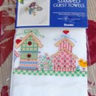 PRETTY PRETTY BIRDHOUSE  & HEARTS  TOWELS FROM BUCILLA