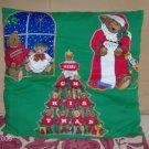 Bear Christmas Pillow, Appliqued Tree,Santa,Green & Red
