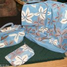 3 PC FLORAL TOTE BAG,TRAIN CASE, COSMETIC BAG SET NEW