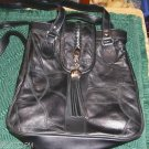 PAICHAND BLACK LEATHER WITH TASSLE HANDBAG PATCHWORK