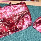 EMBROIDERED LOOK BURGUNDY FLORAL 2 PC COSMETIC BAG SET