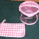 Pink & White Checked Cosmetic Bag Set from Basics