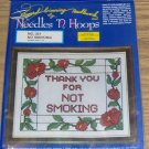 NO SMOKING SIGN-STAINED GLASS DESIGN-NEEDLES N HOOPS