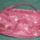 Burgundy Embroidery Satin Makup Case - New
