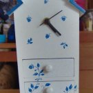 BLUE BIRDHOUSE CLOCK - WITH DRAWERS - CUTE AND USEFUL