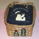 Happy Holidays Wicker Baskets With Snowmen, Set of 2