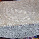 ECRU FLOWERED ROUND TABLETOPPER ,NEW, CROCHETED, LOOK