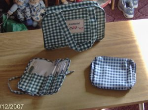 GREEN CHECKED NICE ACCESSORY SET - NEW