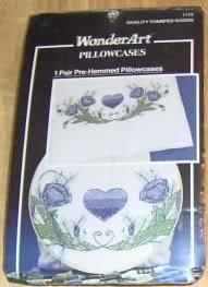 WONDERART ROSE ROMANCE HEART PILLOWCASES,STMPD W/DESIGN