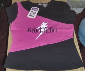 REBEL,REBEL SLEEPSHIRT - PINK AND BLACK - NICE