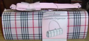 SHOWCOLORS COSMETIC BAG - PURSE STYLE-RED & BLACK PLAID