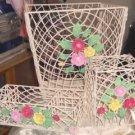 Very Pretty Flowered Desk Set,Kleenex,Wastecan,Organize