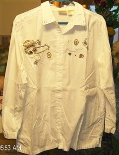 Bobbie Brooks White Shirt W/ Appliques,Glittery & Cute