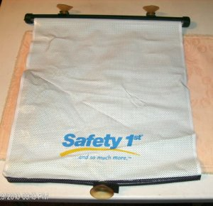 Safety Net Window Blind,Navy Blue & White