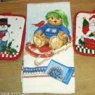 Xmas Towel & Potholders,Santa,Snowman,Bear On Sled,Cute