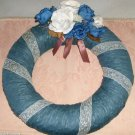 Lacy Blue Wreath, Pretty Decor,Round Shape,Flowers,Look