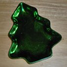 Green Shiny Christmas Tree Shaped Candy Dish or Relish