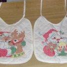 Chirstmas Bibs,Hand Embroidered,Santa & Deer/Doll,Cute