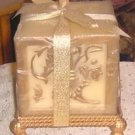 Gold Embossed Candle & Holder,Gift Wrapped