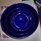 Blue Mixing Bowls,Very Nice Heavy Set,Stoneware