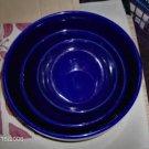 Blue Mixing Bowls,Very Nice Heavy Set,Stoneware
