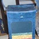 Vintage Knitting Basket Box,Blue Vinyl,Fabric Inlay